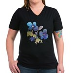 Watercolor Flowers Women's V-Neck Dark T-Shirt