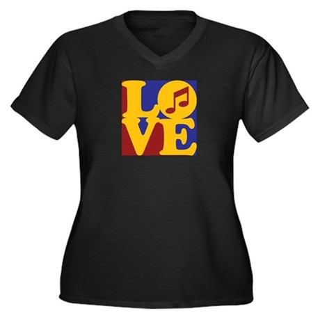 Orchestra Love Women's Plus Size V-Neck Dark T-Shi