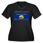 Montana State Flag Women's Plus Size V-Neck Dark T