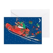 Hot Rod Santa Christmas Greeting Card