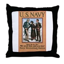 1917 US Navy Poster Throw Pillow