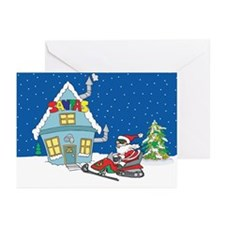 Snowmobiling Santa Christmas Greeting Cards (Pk of