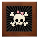 Cute Skull Girl Framed Tile