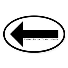US VI Keep Left Arrow Oval Sticker (50 pk)