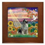 Autumn Angel/Keeshond Framed Tile