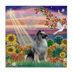 Autumn Angel/Keeshond Tile Coaster