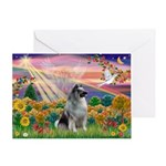 Autumn Angel/Keeshond Greeting Card