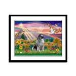 Autumn Angel/Keeshond Framed Panel Print