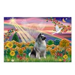 Autumn Angel/Keeshond Postcards (Package of 8)