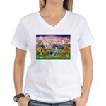 Autumn Angel/Keeshond Women's V-Neck T-Shirt