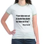 Churchill Alcohol Quote (Front) Jr. Ringer T-Shirt