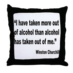 Churchill Alcohol Quote Throw Pillow