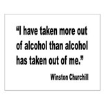 Churchill Alcohol Quote Small Poster