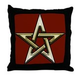 Classic Gold Pentacle Throw Pillow