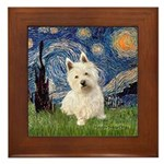 Starry Night/Westie Framed Tile