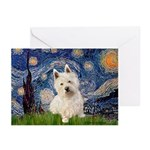 Starry Night/Westie Greeting Cards (Pk of 10)