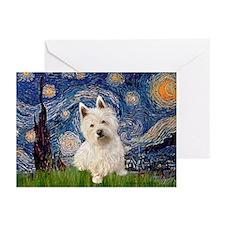 Starry Night/Westie Greeting Cards (Pk of 20)