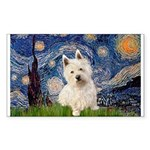 Starry Night/Westie Sticker (Rectangle)