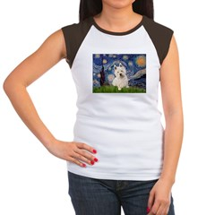 Starry Night/Westie Women's Cap Sleeve T-Shirt