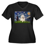 Starry Night/Westie Women's Plus Size V-Neck Dark