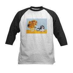 Sunflowers/PBGV Kids Baseball Jersey