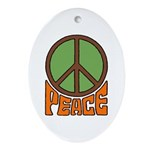 Peace Sign Oval Ornament
