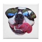 BOSTON TERRIER YO DAWG SUNGLASSES Tile Coaster