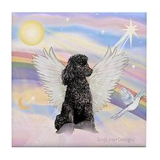 Angel/Poodle(blk Toy/Min) Tile Coaster