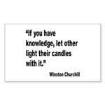 Churchill Knowledge Quote Rectangle Sticker 10 pk