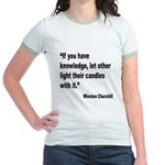 Churchill Knowledge Quote (Front) Jr. Ringer T-Shi