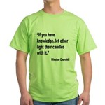 Churchill Knowledge Quote (Front) Green T-Shirt