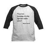 Churchill Knowledge Quote Kids Baseball Jersey