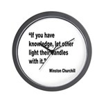 Churchill Knowledge Quote Wall Clock