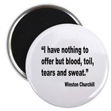 "Churchill Blood Sweat Tears Quote 2.25"" Magnet (10"