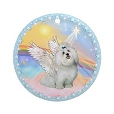 Maltese Angel in Heaven Ornament (Round)