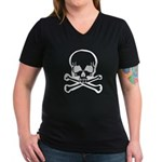 Skull and Crossbones Women's V-Neck Dark T-Shirt