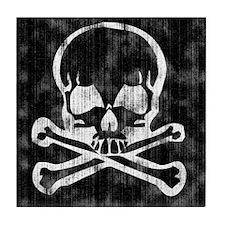 Worn Skull and Crossbones Tile Coaster