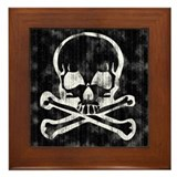 Worn Skull and Crossbones Framed Tile