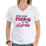 Silly boys, fishing is for girls! Women's V-Neck T