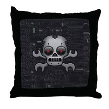 Robot Skull Throw Pillow