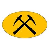 Crossed Rock Hammers Oval Decal