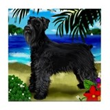 GIANT SCHNAUZER DOG BEACH Tile Coaster