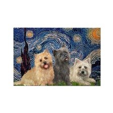 Starry/3 Cairn Terriers Rectangle Magnet
