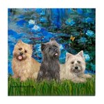 Lilies3/3 Cairn Terriers Tile Coaster