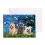 Lilies3/3 Cairn Terriers Greeting Card