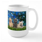 Lilies3/3 Cairn Terriers Large Mug