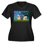 Lilies3/3 Cairn Terriers Women's Plus Size V-Neck
