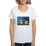 Lilies3/3 Cairn Terriers Women's V-Neck T-Shirt