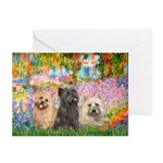 Garden/3 Cairn Terriers Greeting Cards (Pk of 20)