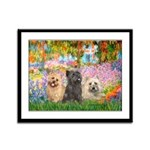 Garden/3 Cairn Terriers Framed Panel Print